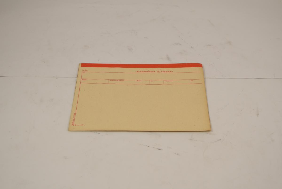 Rektangulært ark for telegram. Brukt på Setesdalsbanen. 4 stk.