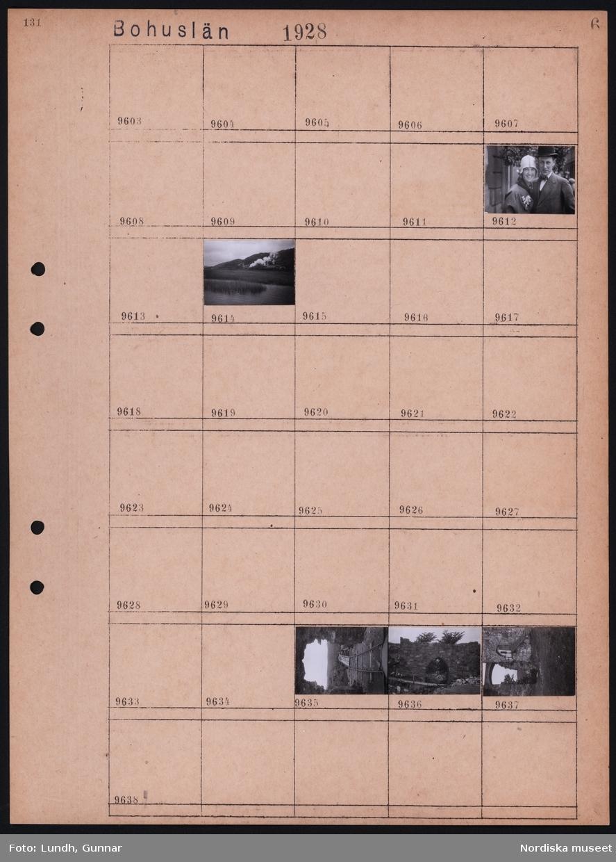 Motiv: Bohuslän, Kungälv, Bohus, Trädgårdsförening; Porträtt av kvinna och man, landskapsvy med järnväg och ånglok, ruin med gångbro.
