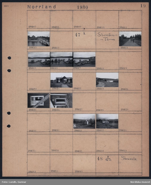 """Motiv: Norrland, Storumesjö, Slussfors; Människor på en brygga med lastbil och hus i bakgrunden.  Motiv: Norrland, Slussfors - Tärna; Två män går på en grusväg, människor står på en brygga bredvid en båt, en hög med oljefat ligger vid en hamn, en bil står utanför ett hus och två personer lastar ur, en cyklist på grusväg vid en sjö, en kvinna fotograferad genom ett öppet fönster, ett hus med en skylt """"Poststation"""", landskapsvy med ett timmrat hus."""