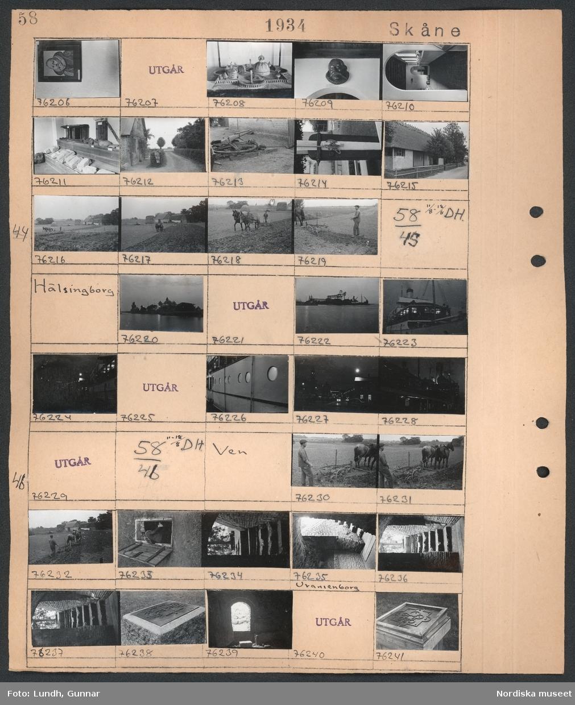 Motiv: Skåne, Ven ; En tavla, en arkitektmodell, en skulptur, interiör av ett museum, exteriör av en byggnad, en anordning för att överföra kraft typ hästvandring, detalj av en flaggstång, exteriör av en byggnad, en man harvar en åker med två förspända hästar och en bondgård i bakgrunden.  Motiv: Skåne, Hälsingborg; Nattbild över hamn med fartyg och kranar, nattbild av fartyg.  Motiv: Skåne, Ven; En man harvar en åker med två förspända hästar, en källartrappa, en minnessten med byggnadsritning.