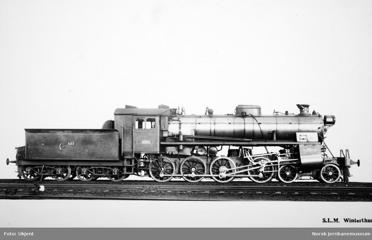 Leveransefoto av damplokomotiv type 26c nr. 433 fra SLM