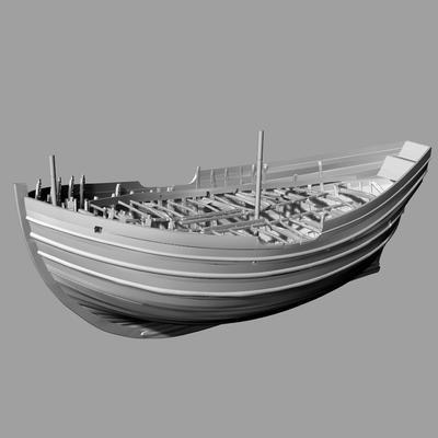 Digital 3D-modell av det arkeologiske skipsfunnet Barcode 2.