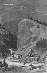 Kolkjøring i mørkt fjellandskap med ulv.  Bildet er et grafi