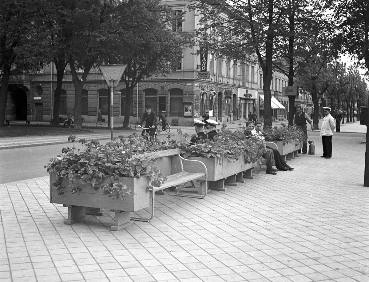 Blomstersoffor på Nygatan. Sjöbergs konditori . Reportage för Gefle Dagblad