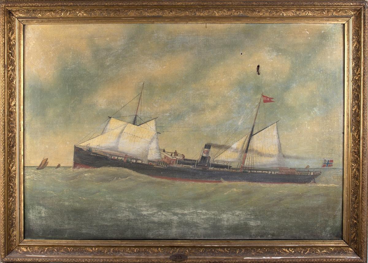 Skipsportrett av DS JOHAN SVERDRUP under fart i åpen sjø. Ser noen mindre seilfartøy i bakgrunn.