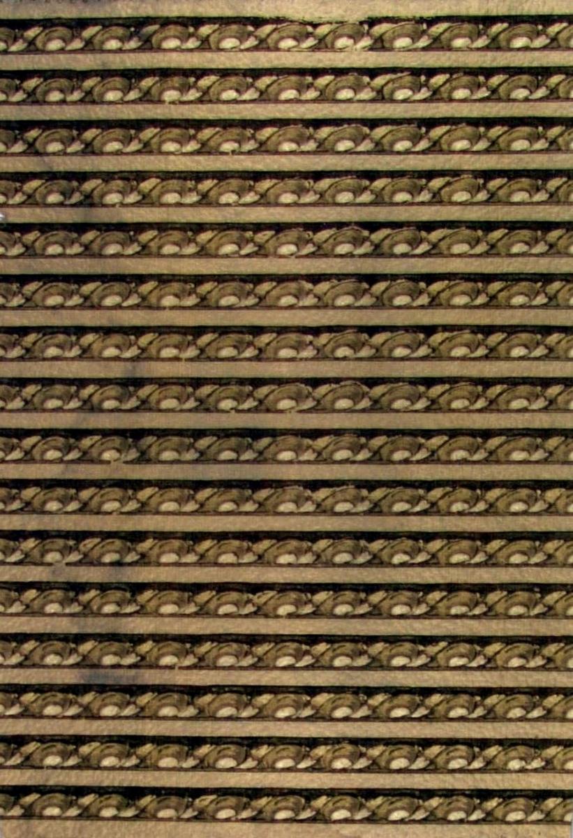 Bård med enkelt mönster bestående av ett stiliserat spiralband. Tryck i guld, koppar och brunt.