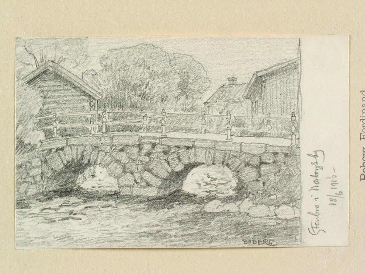 """Västmanland, Gamla Norbergs bergslag, Norberg. """"Stenbro i Norbergsby."""" Teckning av Ferdinand Boberg."""