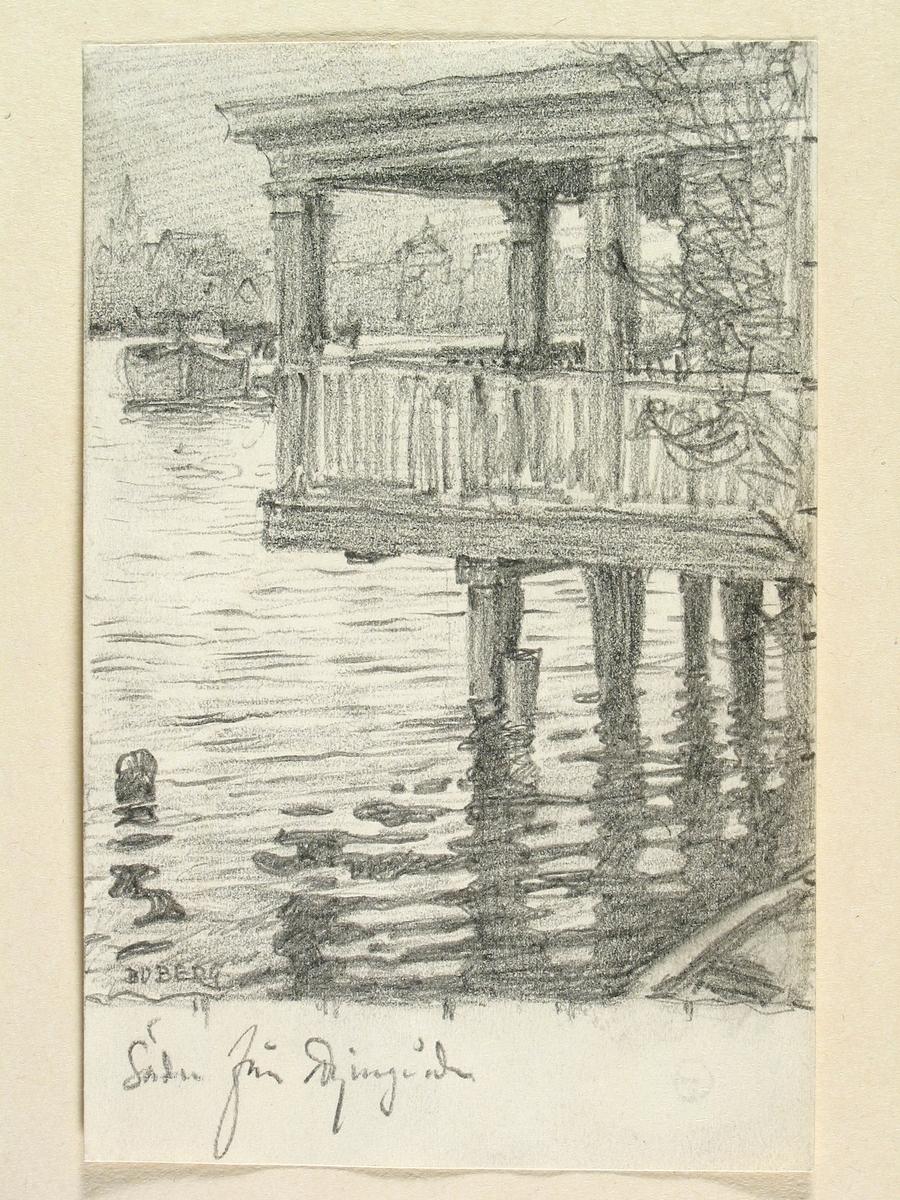 Teckning av Ferdinand Boberg. Stockholm, Söder, Från Djurgården