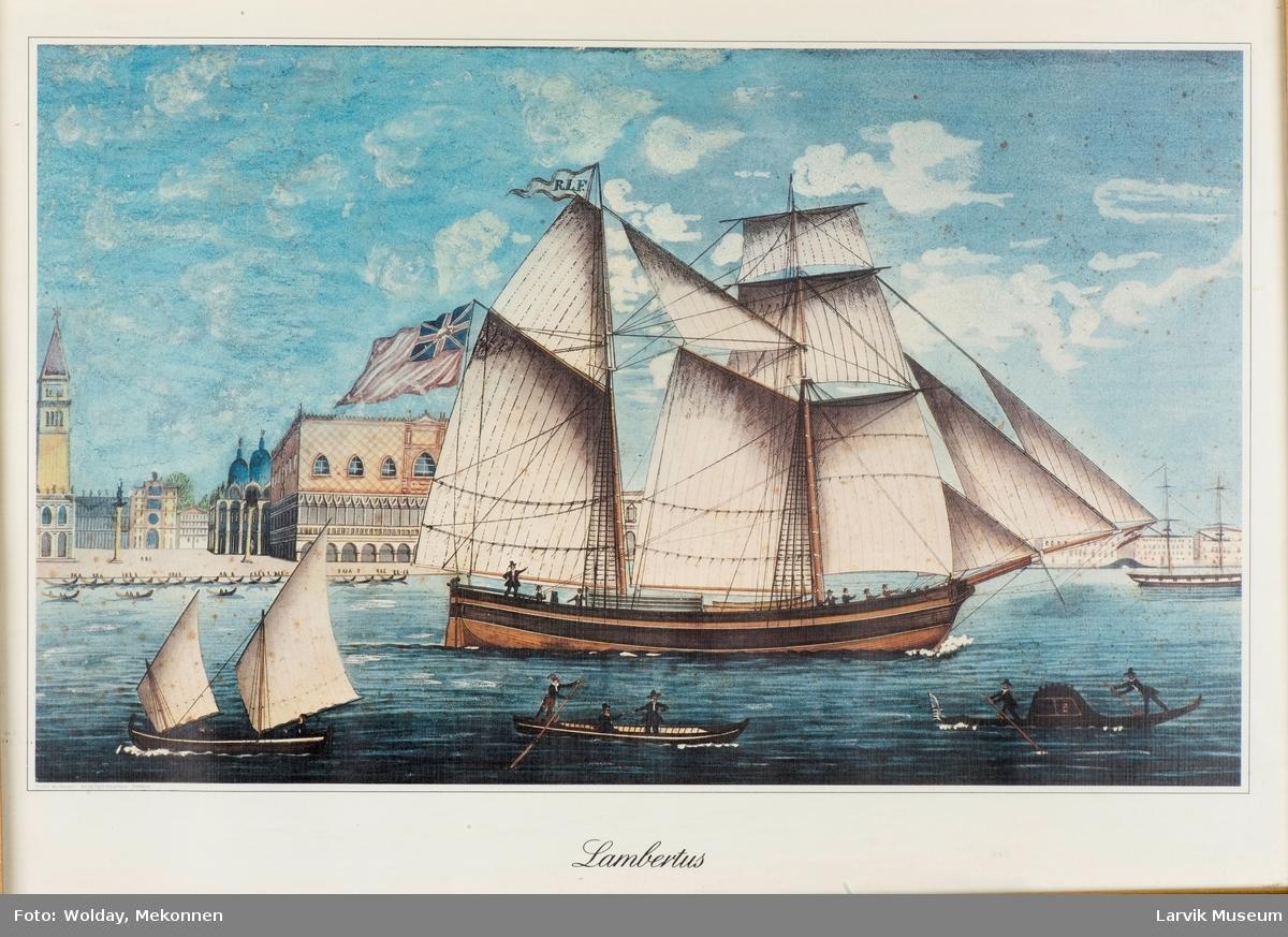 "Seilskuten ""Lambertus"". Venezia i bakgrunnen."