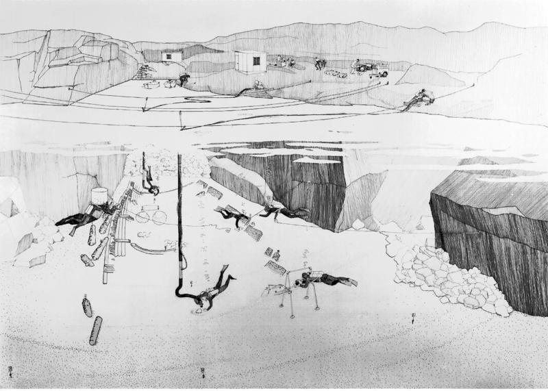 Svart-hvit tegning av utgravningen på Lossen i 1967. (Foto/Photo)