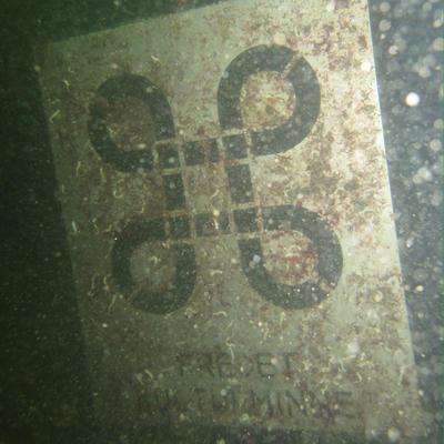 "Skilt under vann som markerer ""Lossen"" som fredet kulturminne.. Foto/Photo"
