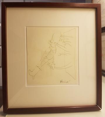 Blyanttegning. Mørk ramme. Tegning. 34x31 cm. Kr. 3.333