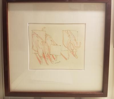 Blyanttegning. Mørk ramme. Tegning. 29x31 cm.Kr. 3.333