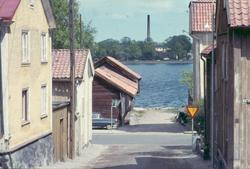 Vy från Fabriksgatan i Västervik.