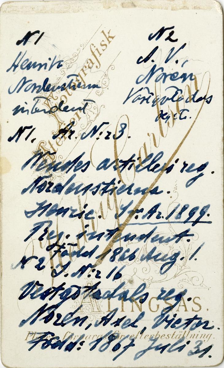Ett ateljéporträtt med signatur från Alingsås finns i Porträttfynd. Bilden är inte daterad, men ser ut att vara från 1800-talets sista år. Gift i Alingsås 1892 med Teodor Engblad, porträttmålare, artist och fotograf. Även hans porträtt med egen signatur finns i porträttfynd.