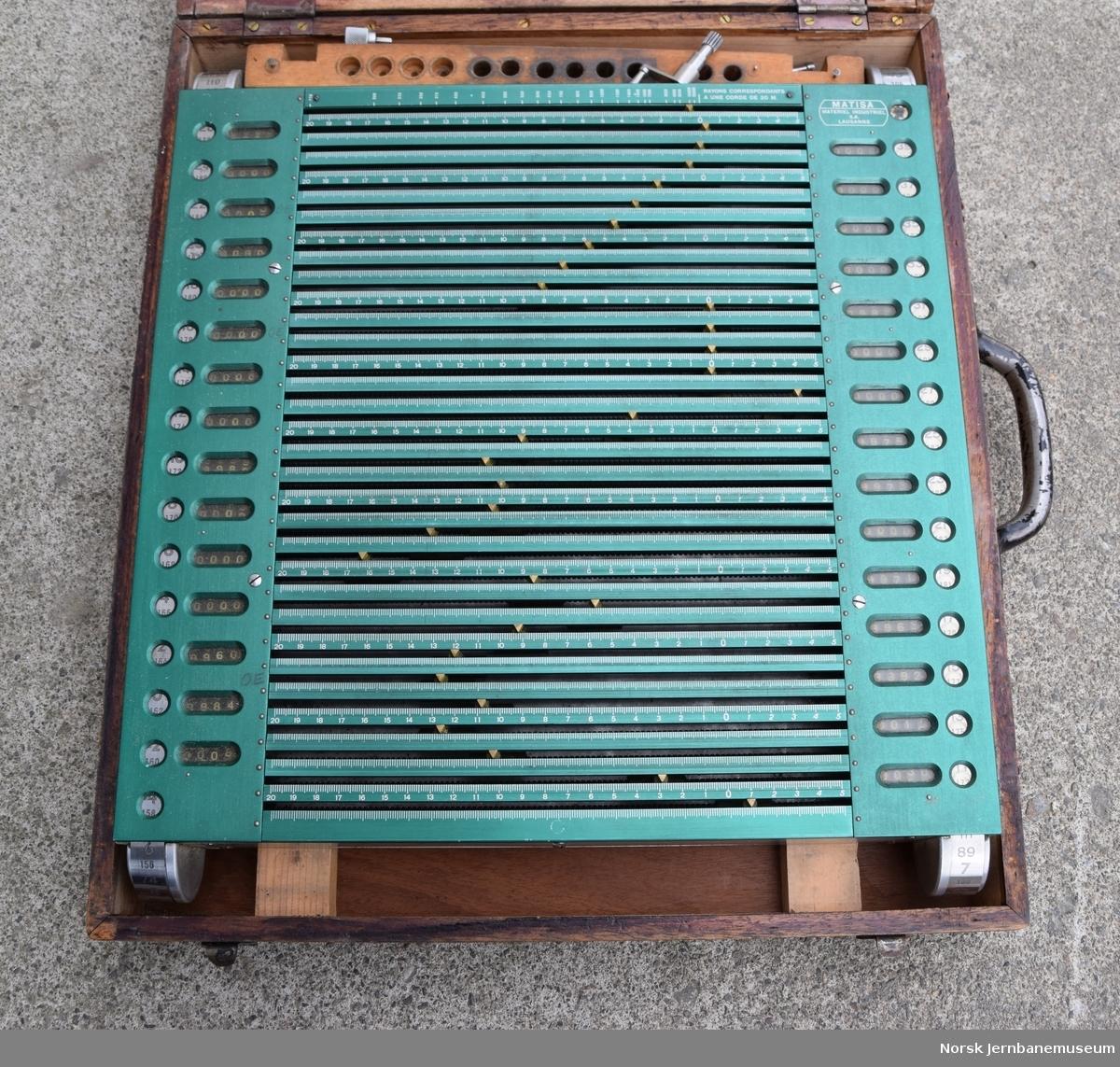 I trekasse  Beskrivelse på et tilsvarende apparat på Sveriges Järnvägsmuseum: På kalkulatoren kan man ved målinger på lagt spor få frem en kurveprofil med 15 målepunkter. Med apparatet er det mulig å justere sporet til ønsket kurveprofil med stor presisjon.