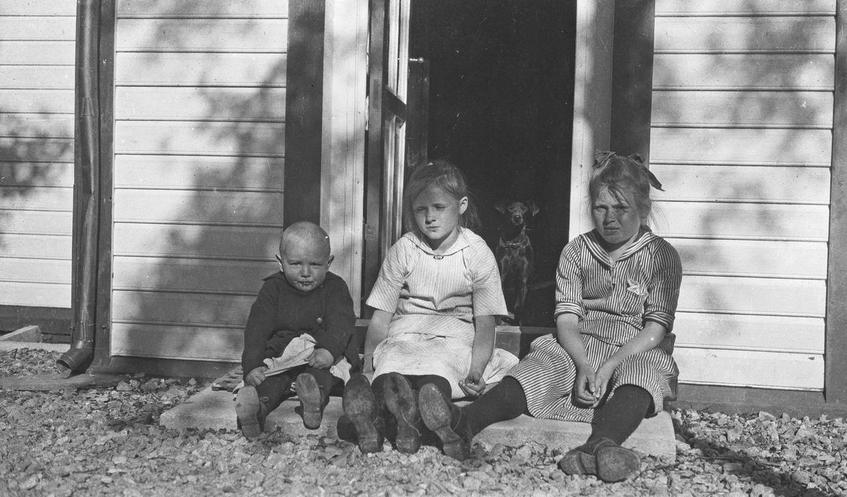 Gruppebilde. Tre barn, en gutt og to piker som sitter på en trapp i solskinnet. En dackshund står bak i døråpningen og ser ut. Hverdagsfoto.