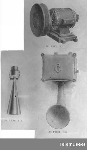Horn, elektriske (hylere). Elektrisk Bureau.