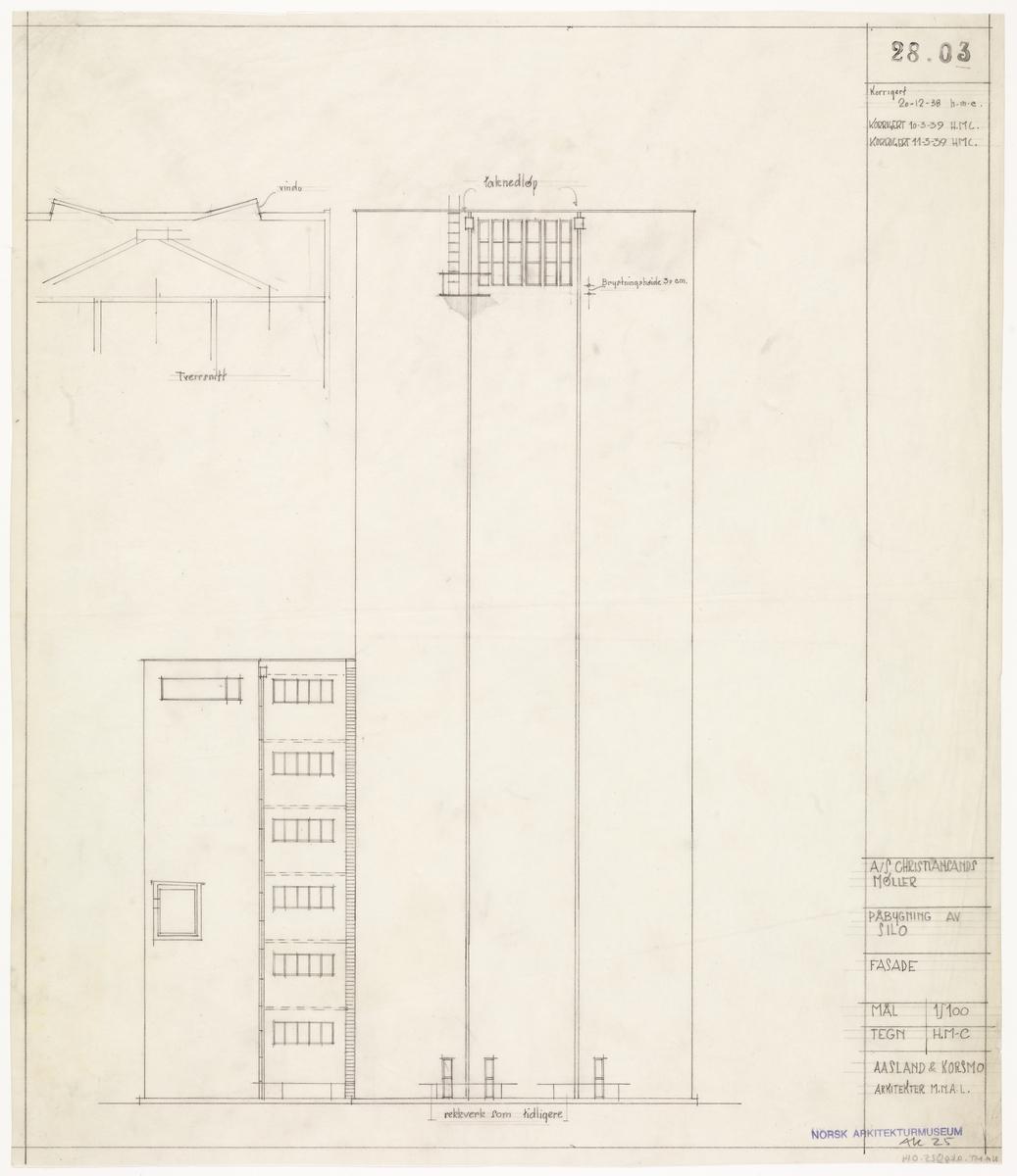 Påbygning av silo med lager for A/S Christiansands møller [Fasadeoppriss]
