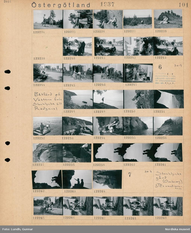 Motiv: Östergötland, Stockhlycke (Omberg) , På Ombergs hjässa; Porträtt av två kvinnor, an kvinna står på händer, porträtt av en kvinna och en man, två kvinnor som packar, två kvinnor med cyklar.  Motiv: Östergötland, Båtfärd på Vättern från Stocklycke till Rödgavel, Rullarna 6-8 numrerade i fel ordning den rätta ordningsföljden är 5,7,6,8 ; Landskapsvy med vatten och klippor med en roddbåt, en kvinna på en klippa vid vattnet, människor i en roddbåt.  Motiv: Östergötland, Stocklycke gård (Omberg), STF.s vandrarehem; Två kvinnor med cyklar och packväskor.