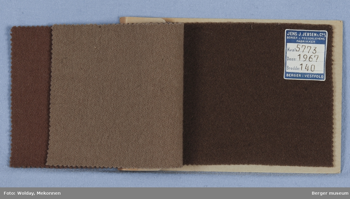 Prøvehefte med 3 prøver Kåpe Kvalitet 5773 Stykkfarget