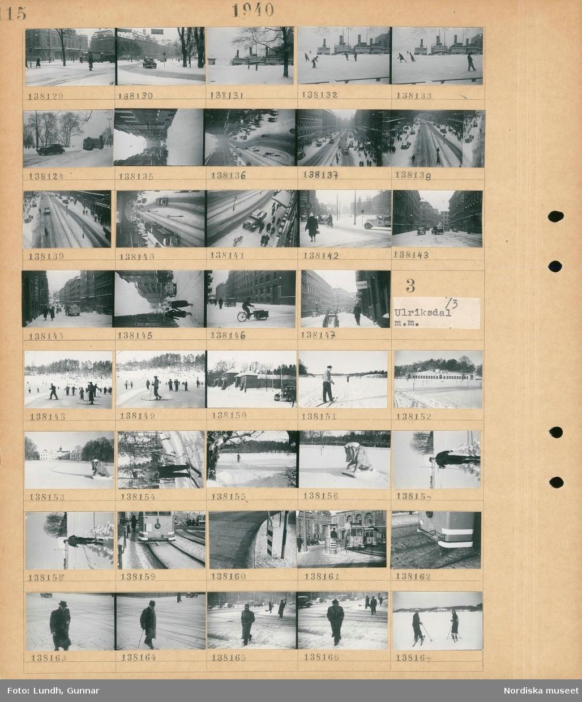 Motiv: Stockholm: Snötäckt stadsvy med fotgängare och bilar, flickor och pojkar åker skridskor med förtöjda fartyg i bakgrunden, en cykelkärra.  Motiv: Ulriksdal m.m. ; Människor åker skidor i ett snötäckt landskap, Koppartälten snötäckta, porträtt av en man som åker skidor, en spårvagn, stadsvy med fotgängare i snöfall, en man och en kvinna åker skidor.