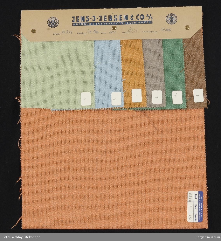Prøvehefte med 7 prøver Kåpe/jakke Kvalitet 6318 Stykkfarget