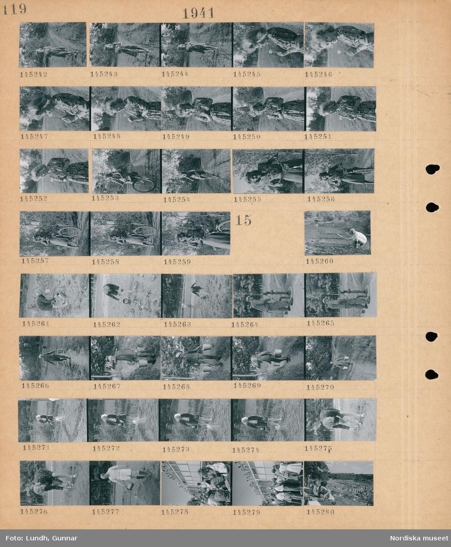 Motiv: (ingen anteckning) ; Porträtt av en kvinna med en blombukett som går på en stig, en kvinna med en maskros, en kvinna cyklar på en stig.  Motiv: (ingen anteckning) ; Kvinnor och män vattnar en odling på en åker, en man pumpar upp vatten ur en trädgårdspump, en man bär två hinkar med ett bärok, människor som solar och badar på ett utomhusbad.