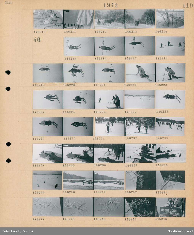 """Motiv: (ingen anteckning) ; En björkstam i snö, en hästdragen kälke i ett snötäckt landskap.  Motiv: (ingen anteckning) ; Kvinnor och män åker skidor, soldater i uniform skjuter på en skjutbana, en trädgren med snö,, en skylt """"Ögonblicket räddat åt framtiden""""."""