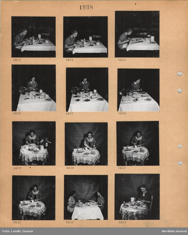 Motiv: En kvinna i klänning sitter vid ett dukat kvadratiskt bord med vit duk och äter, blomvas, en kvinna i klänning sitter vid ett dukat litet runt bord med duk och äter, två kvinnor i klänning sitter vid ett dukat kvadratiskt bord med vit duk och äter.