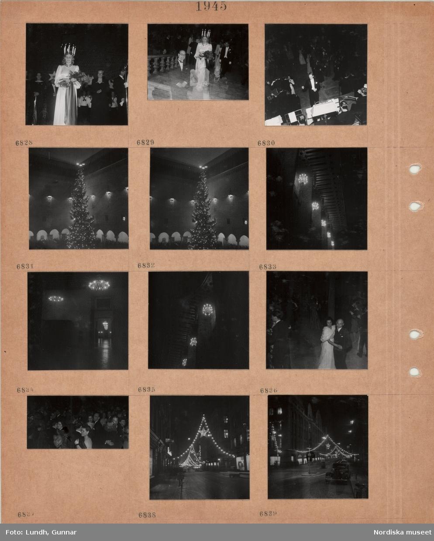 Motiv: Kvinna klädd till lucia med blombukett i famnen, lucia går uppför en trappa före en man i frack, man i frack dirigerar orkester framför dansande par, hög julgran med tre kronor i toppen i Stockholms stadshus, tända ljuskronor, dansande par, kvinna i lång klänning och pälscape, gata i kvällsmörker med tända juldekorationer.