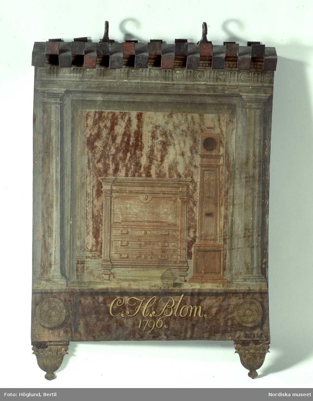 "Snickeriskylt. ""C. H. Blom, 1796"""
