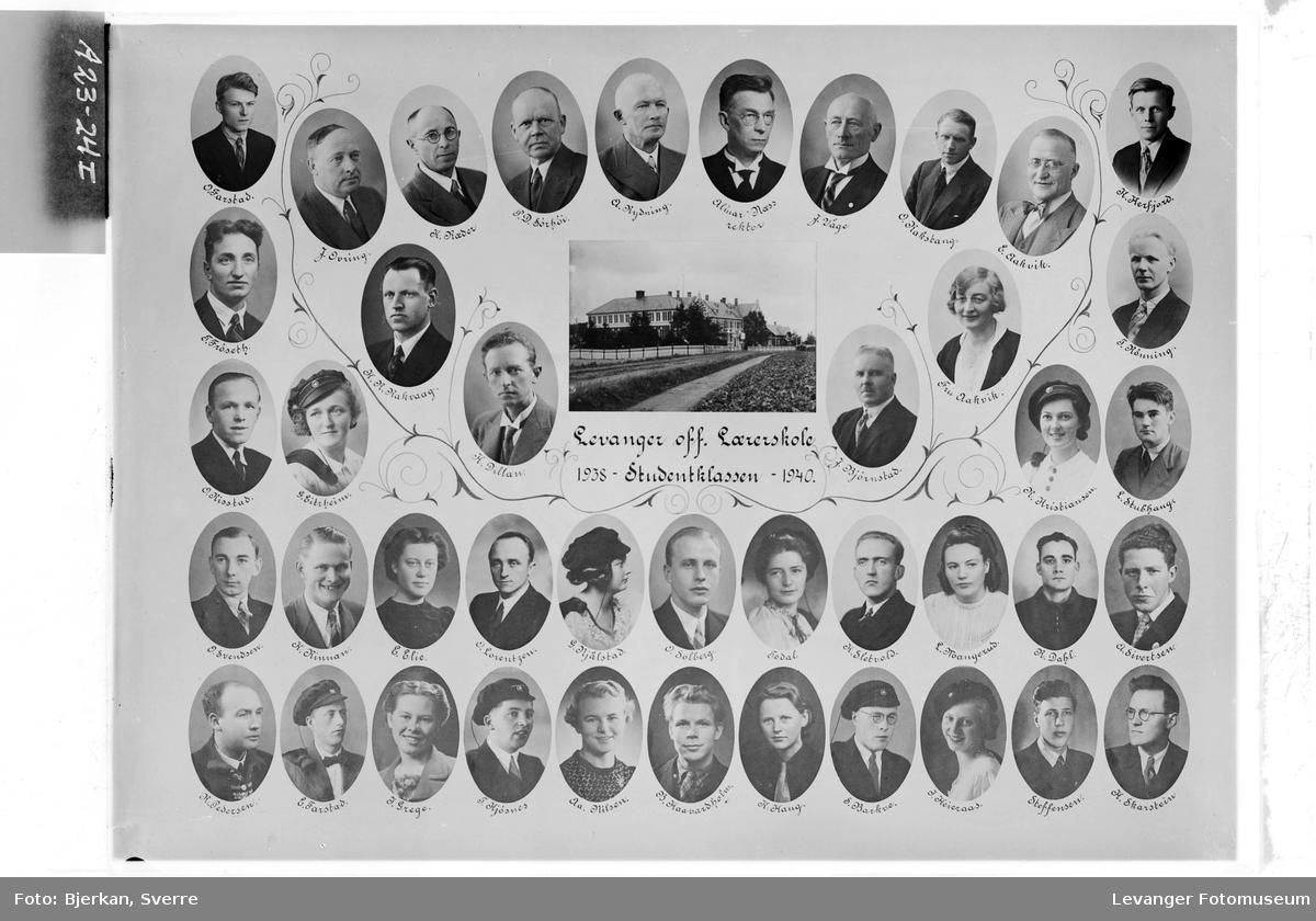 Skolebilde Levanger lærerskole. Merket studentklassen 1938-40