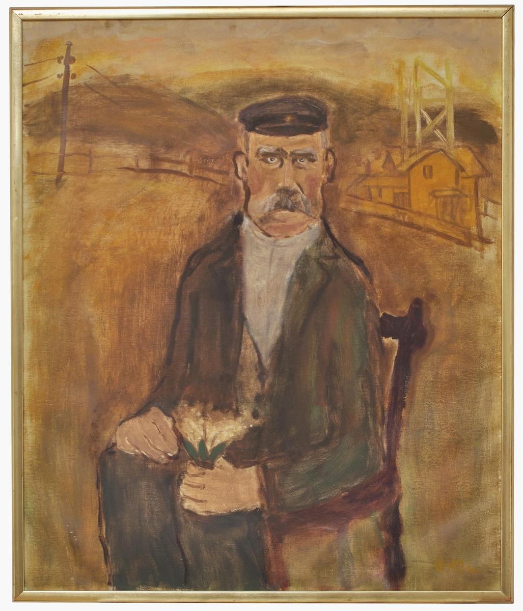 """Oljemålning, """"Lim-Johan"""" av Ulla-Märta Lindén."""