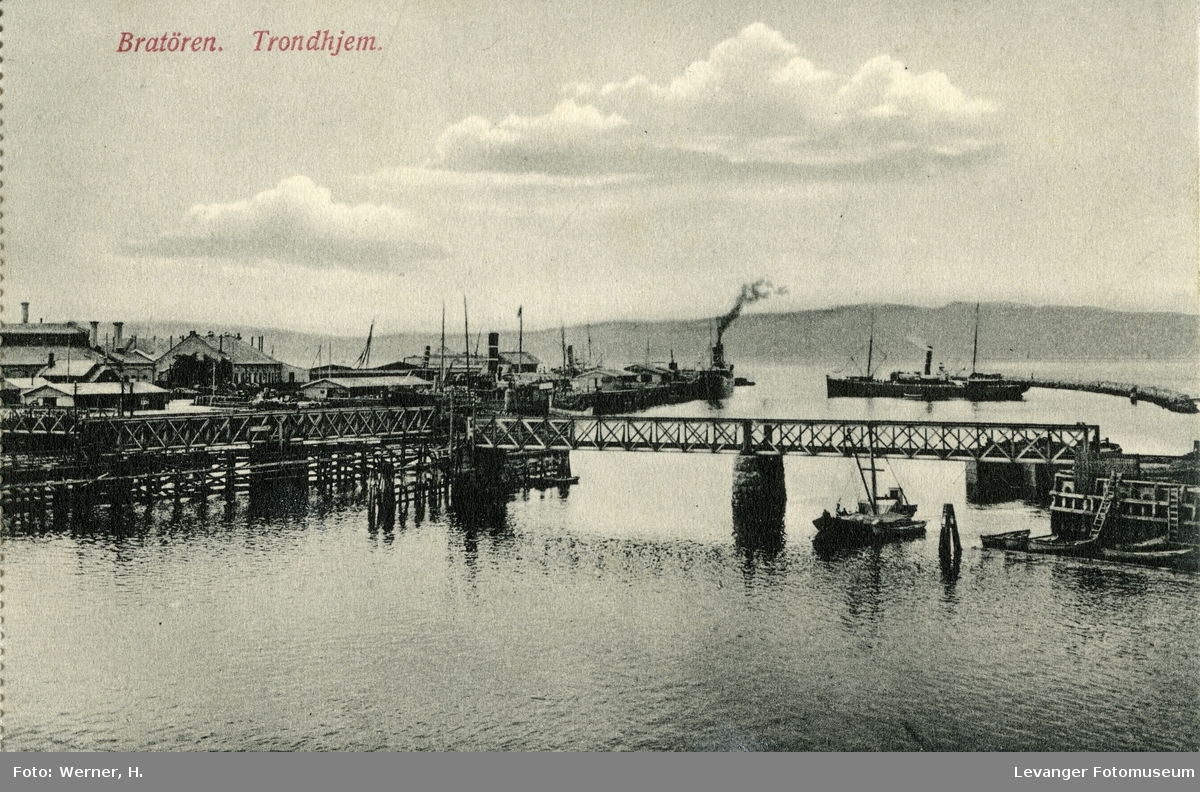 Postkort, fra Brattøre i Trondheim