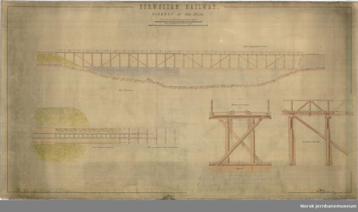 """Viaduct at 10 M 69 CHS Påført P. No. """"Foreslaaet jernbanebro ved Fjeldhammer""""  Ut fra oppgitt kjeding må dette tilsvare 17,48 km fra utgangspunktet og være mellom Fjellhamar og Strømmen"""