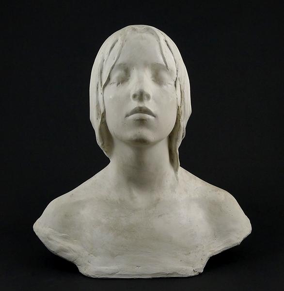 """Enl liggare: """"Immaculata, byst, vit patina"""". Märkt """"A de F  1898"""""""