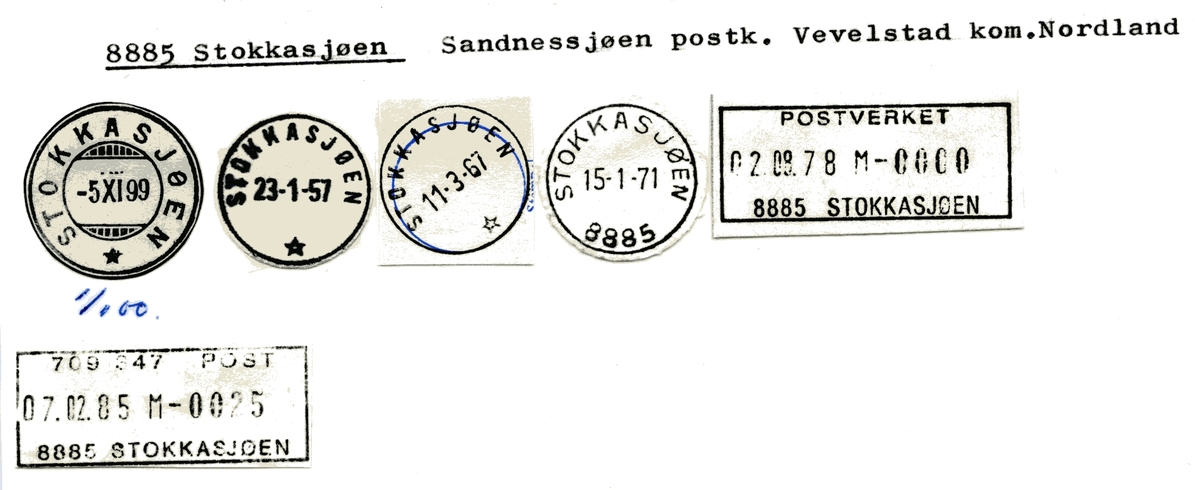 Stempelkatalog 8885 Stokkasjøen, Vevelstad, Nordland