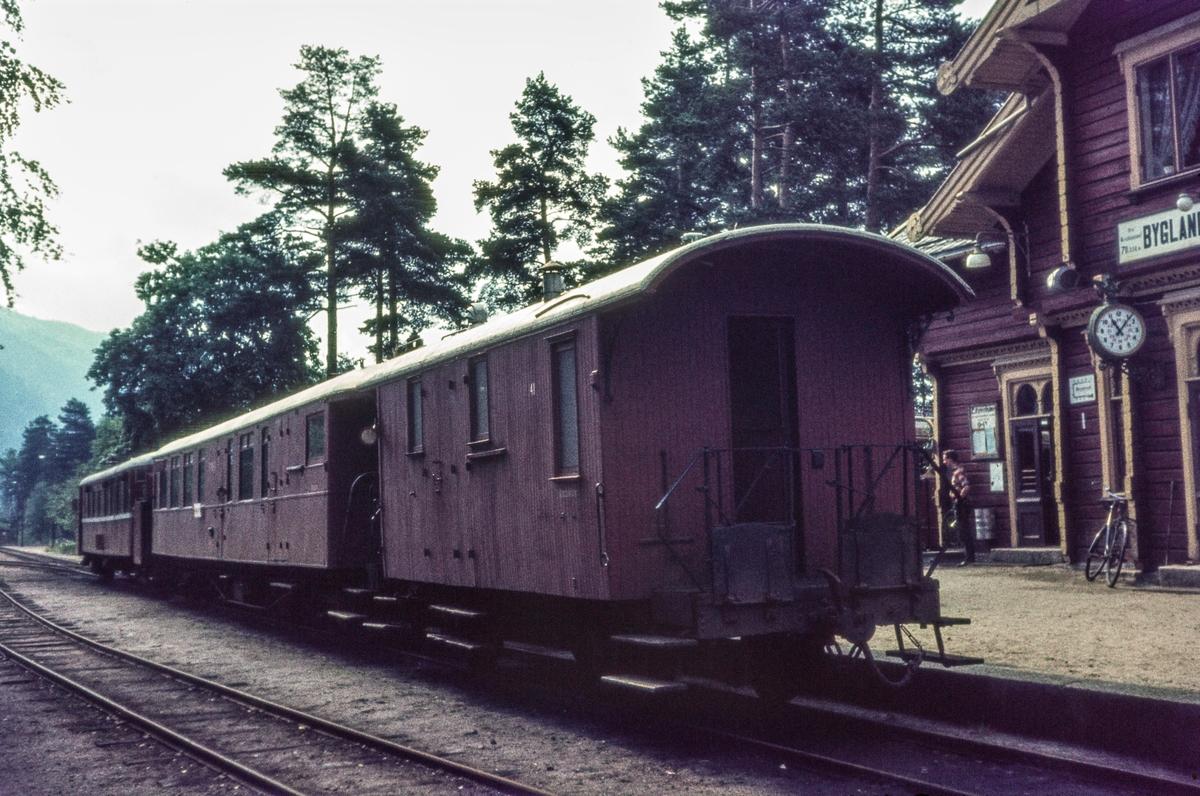 Persontog fra Byglandsfjord til Grovane på Byglandsfjord stasjon. Toget består av motorvogn type Cmbo 1, en BFo-vogn (2. kl. og konduktør- og reisegods) og F-vogn (konduktørvogn) nr. 41.