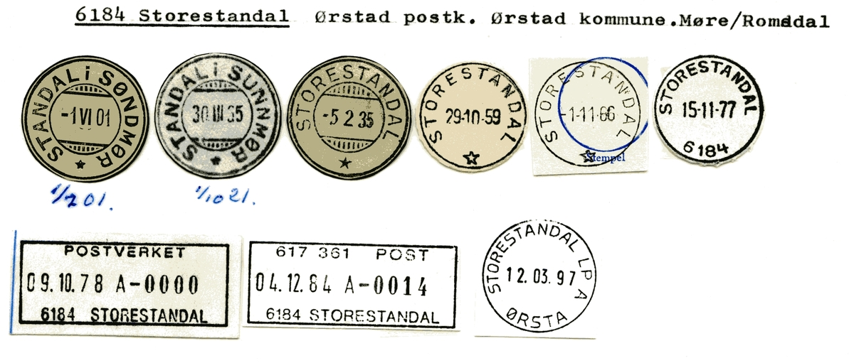 Stempelkatalog 6184 Storestandal (Standal i Søndmør), Ørsta, Møre og Romsdal