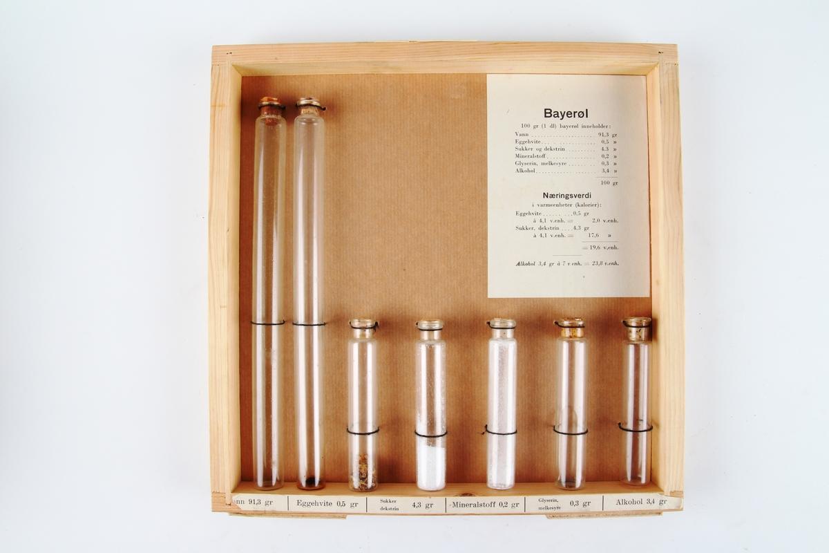 Ramme med syv reagensrør som illustrerer næringsinnholdet i bayerøl