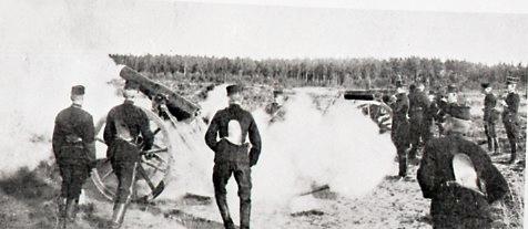 Haubits m/1891. 12 cm. Eldgivning.