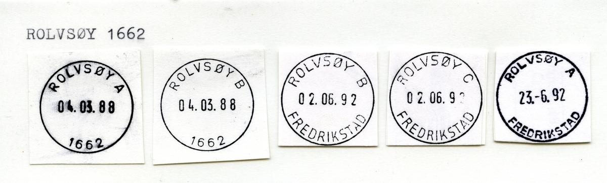 Stempelkatalog 1662 Rolvsøy, Fredrikstad, Østfold