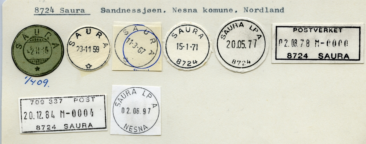 Stempelkatalog  8724 Saura, Nesna kommune, Nordland