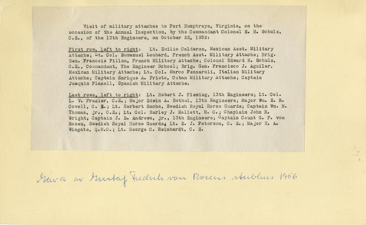 Utländiska militärattachéer på besök i Fort Humphreys (idag Fort Belvoir), Virginia. 22 october 1932. För namn, se bild nr. 3.