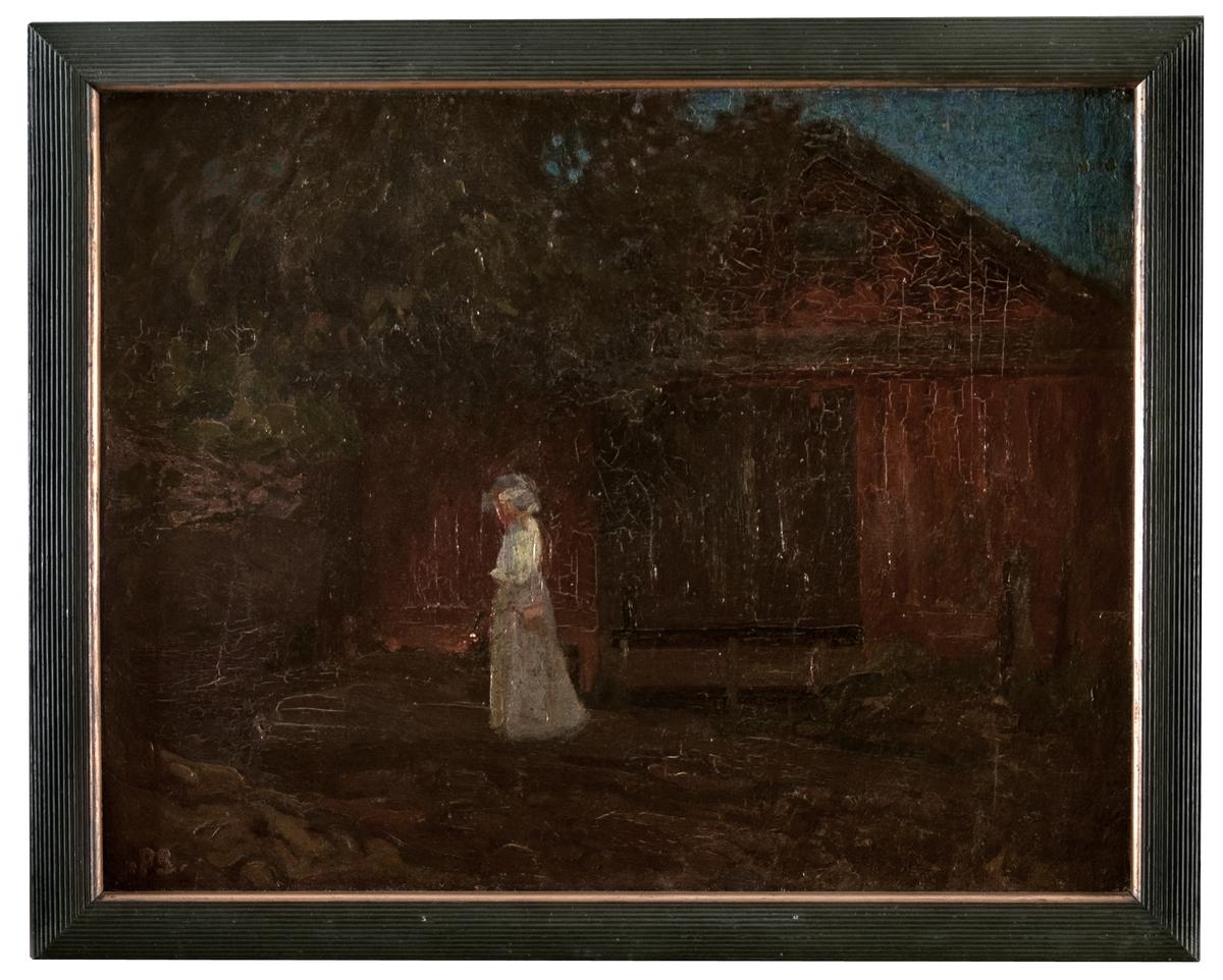 """Oljemålning, Laduvägg"""", av Pelle Swedlund. Montering/Ram: Originalram påmålad av konstnären"""