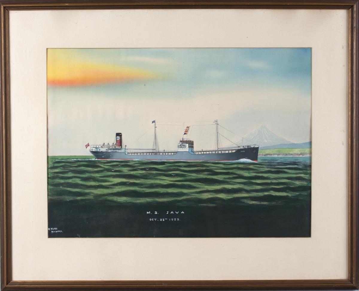 Skipsportrett av MS JAVA med Fuji-fjellet og Yokohama i bakgrunnen.
