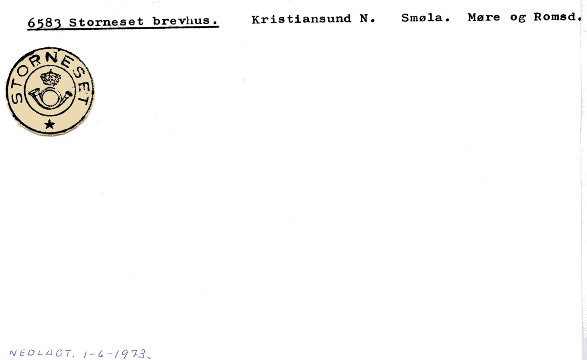 Stempelkatalog 6583 Storneset, Smøla kommune, Møre og Romsdal