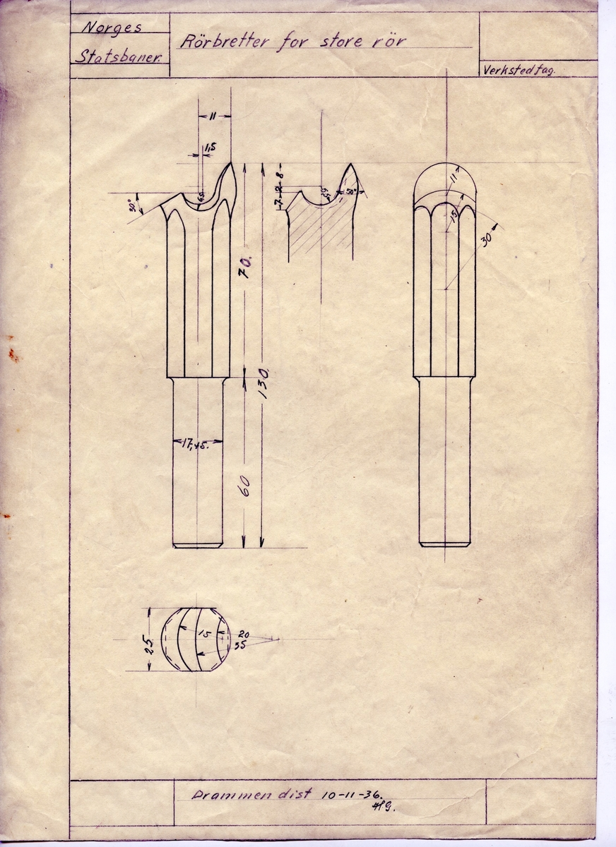 Håndtegnet arbeidstegning på kalkrepapir for rørbretter for store rør.