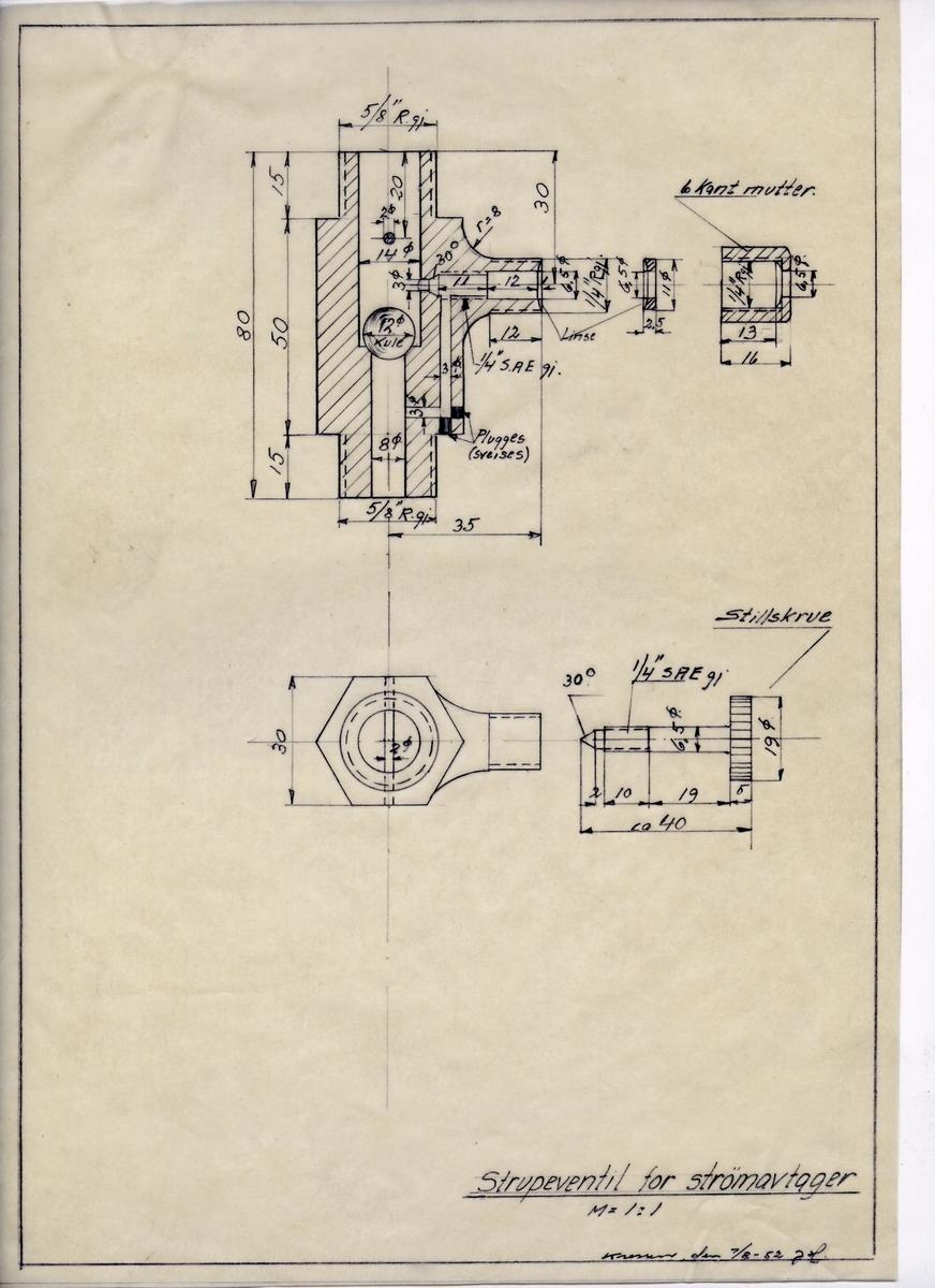 Håndtegnet arbeidstegning til strupeventil for strømavtager. Utarbeidet på Krossen i 1952.